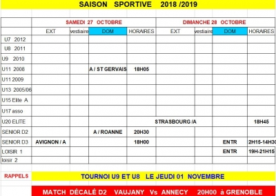 Week end 27 et 28/10