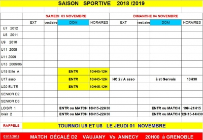 Week end 03 et 04/11